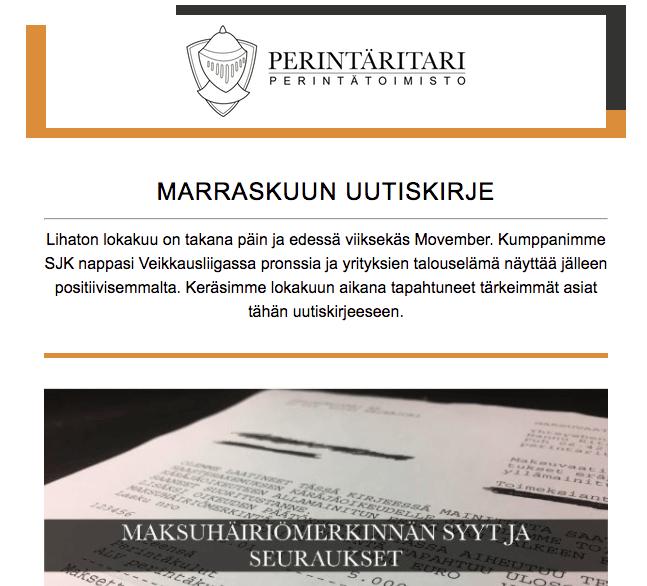 Perintäritari Seinäjoki Etelä-Pohjanmaa marraskuun uutiskirje
